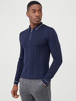 river-island-zip-neck-knitted-polo-navy