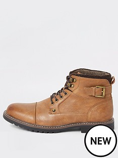 river-island-light-brown-lace-up-buckle-military-boots