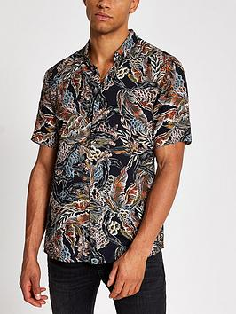 river-island-feather-printed-slim-fit-shirt--nbspblacknbsp