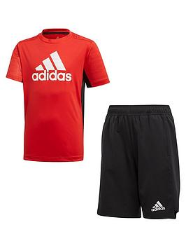 Adidas   Junior Boys Tee And Short Set - Red Black