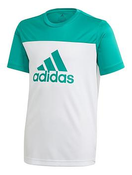 Adidas Adidas Youth Tr Eq Short Sleeve T-Shirt - White/Green Picture