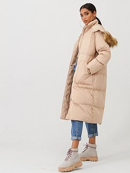 Boohoo    Panelled Faux Fur Hood Padded Coat - Caramel