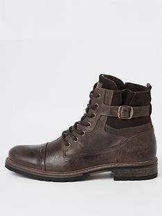 river-island-dark-brown-buckle-lace-up-leather-boots