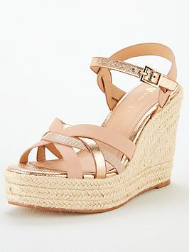 V by Very V By Very Dottie Weave High Wedge Sandal - Gold Picture