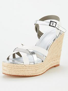 V by Very V By Very Dottie Weave High Wedge Sandal - Silver Picture