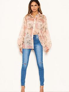 ax-paris-floral-chiffon-blouse-pink