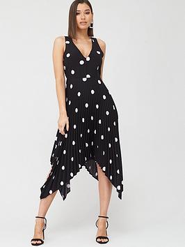 AX Paris Ax Paris Polka Dot Pleated Midi Dress - Black Picture