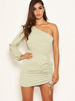 AX Paris Petite Ax Paris Petite One Sleeve Ruched Dress - Sage Picture