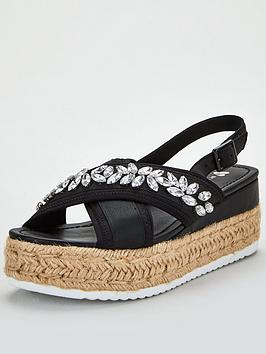 V by Very V By Very Damara Jewel Embellished Wedge Sandals - Black Picture