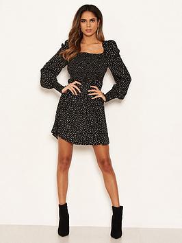 AX Paris Ax Paris Spotty Sheered Square Neck Dress - Black Picture