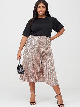 AX PARIS CURVE Ax Paris Curve 2-In-1 Pleated Skirt Dress - Multi Picture
