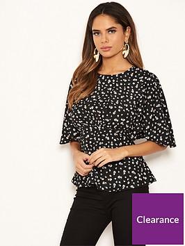 ax-paris-ditsy-floral-print-top-black