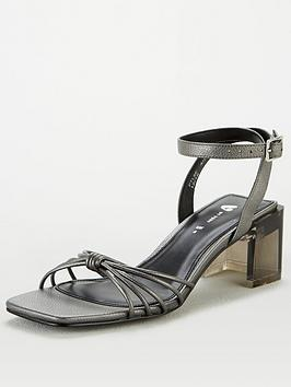 V by Very V By Very Blix Perspex Heel Square Toe Sandals - Silver Picture