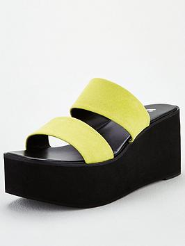 V by Very V By Very Delight Twin Strap Mule Wedge Sandals - Yellow Picture
