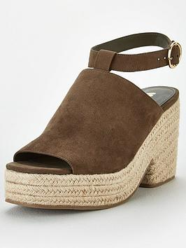 V by Very V By Very Danica High Cut Demi Wedge Sandals - Khaki Picture