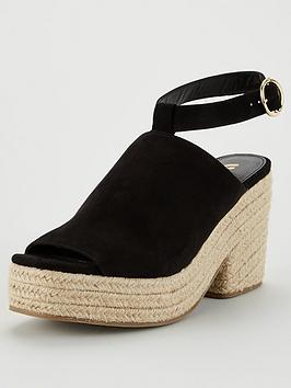 V by Very V By Very Danica High Cut Demi Wedge Sandal - Black Picture