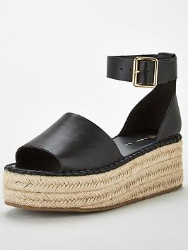V by Very V By Very Danna Two Part Ankle Strap Wedges - Black Picture