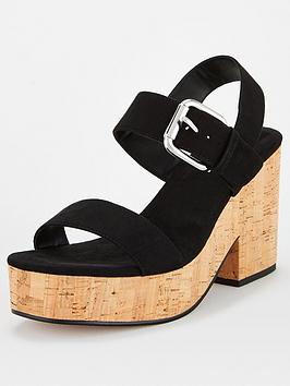 V by Very V By Very Damsey Twin Strap Buckle Wedge Sandal - Black Picture