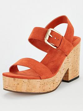 V by Very V By Very Damsey Twin Strap Buckle Wedge Sandal - Rust Picture