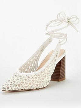 V by Very V By Very Cacia Tie Leg Basket Weave Court Shoes - White Picture