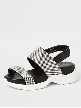 River Island River Island Girls Diamante Chunky Sandal - Black Picture