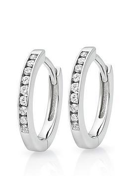 Beaverbrooks Beaverbrooks 9Ct White Gold Diamond Hoop Earrings Picture