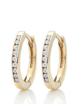 beaverbrooks-9ct-gold-diamond-hoop-earrings