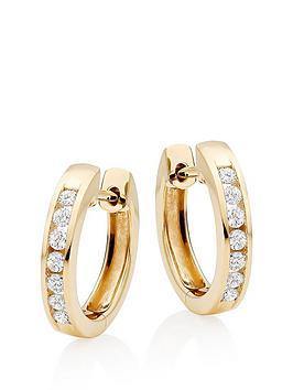 Beaverbrooks Beaverbrooks 9Ct Gold Diamond Hoop Earrings Picture