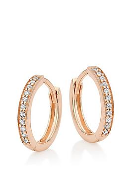 Beaverbrooks Beaverbrooks Silver Rose Gold Plated Cubic Zirconia Hoop  ... Picture