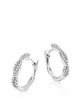 Beaverbrooks Beaverbrooks Silver Cubic Zirconia Twist Hoop Earrings Picture
