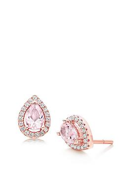 Beaverbrooks Beaverbrooks Silver Rose Gold Plated Synthetic Morganite And  ... Picture