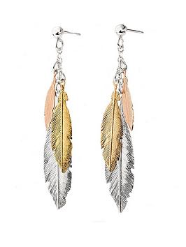 beaverbrooks-silver-three-colour-gold-plated-feather-drop-earrings
