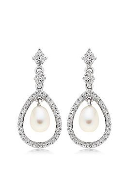 Beaverbrooks Beaverbrooks Silver Cubic Zirconia Freshwater Pearl Drop  ... Picture