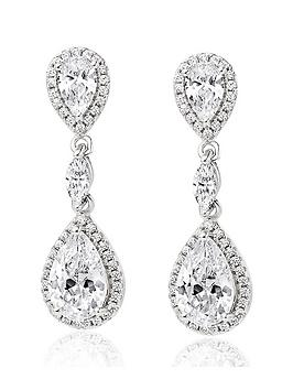 Beaverbrooks Beaverbrooks Silver Cubic Zirconia Halo Drop Earrings Picture