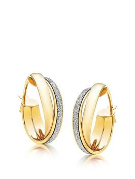 Beaverbrooks Beaverbrooks 9Ct Gold Glitter Hoop Earrings Picture