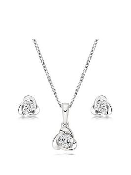 Beaverbrooks Beaverbrooks 9Ct White Gold Diamond Pendant And Earrings Set Picture