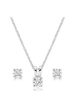 Beaverbrooks Beaverbrooks Platinum Diamond Stud Earring And Pendant Set Picture