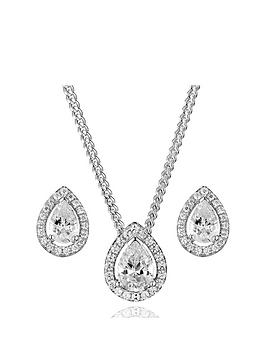 Beaverbrooks Beaverbrooks Silver Cubic Zirconia Pear Halo Pendant And Stud  ... Picture