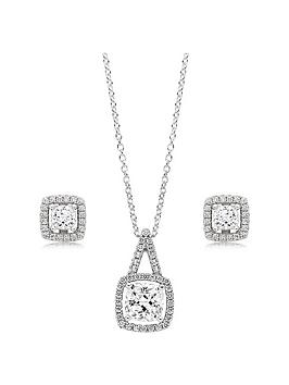 Beaverbrooks Beaverbrooks Silver Cubic Zirconia Square Halo Pendant And  ... Picture