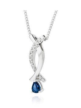 Beaverbrooks Beaverbrooks 9Ct White Gold Sapphire And Diamond Pendant Picture