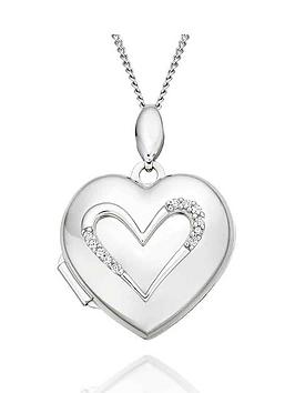 Beaverbrooks Beaverbrooks 9Ct White Gold Diamond Heart Locket Picture