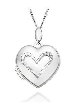 Beaverbrooks Beaverbrooks 9Ct White Gold Diamond Heart Locket Picture