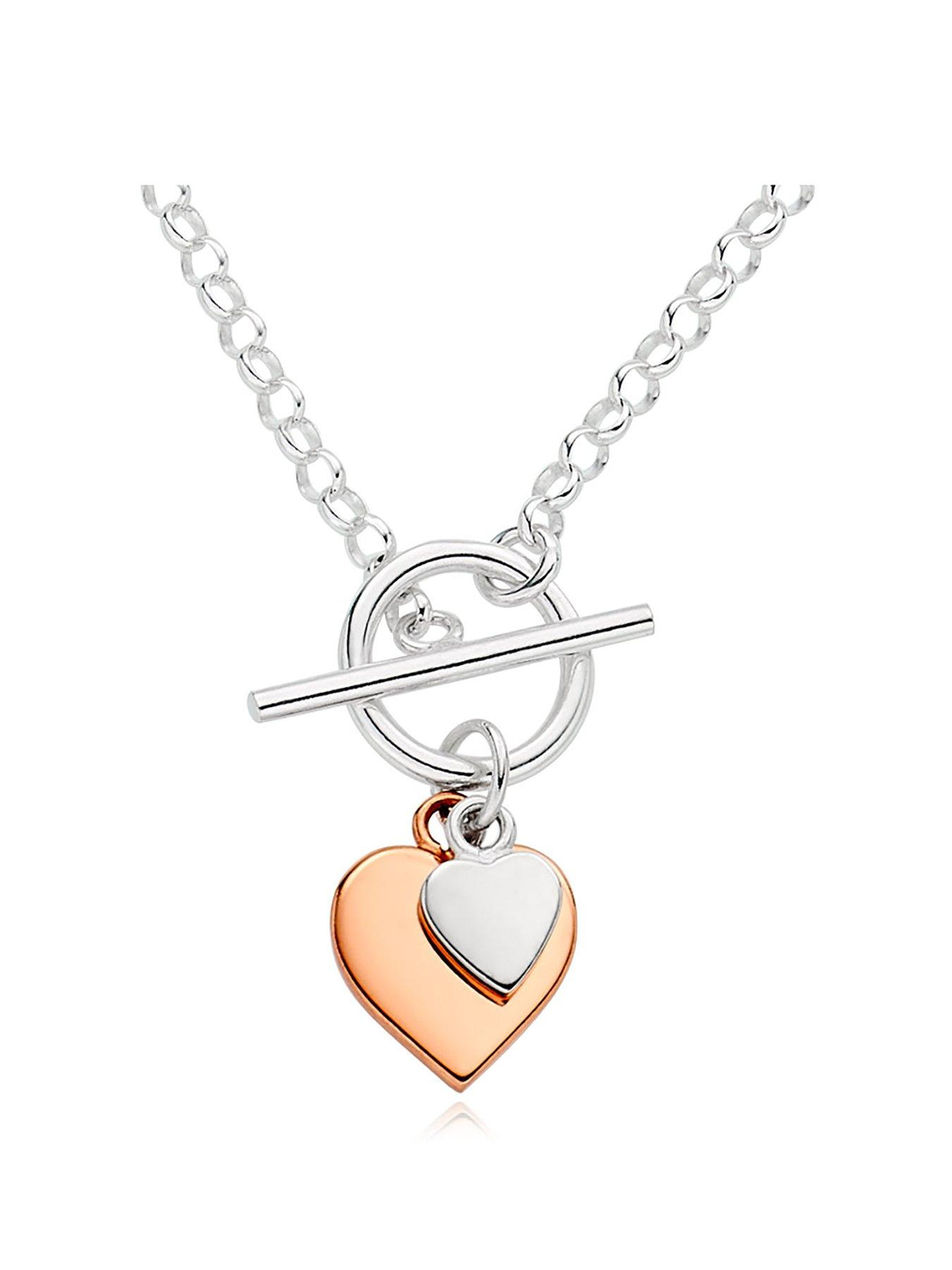 35 to 37 Adjustable Length Children 925 Sterling Silver Hearts Necklace So Chic Jewels