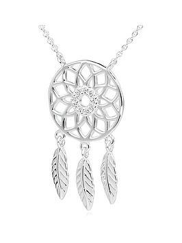 Beaverbrooks Beaverbrooks Silver Cubic Zirconia Dreamcatcher Necklace Picture