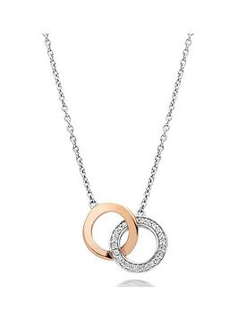 Beaverbrooks Silver And Rose Gold Plated Cubic Zirconia Double Circle Necklace