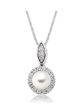 Beaverbrooks Beaverbrooks Silver Pearl And Cubic Zirconia Pendant Picture