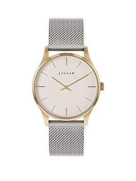 Jigsaw Jigsaw Jigsaw White And Gold Detail Dial Stainless Steel Mesh Strap  ... Picture