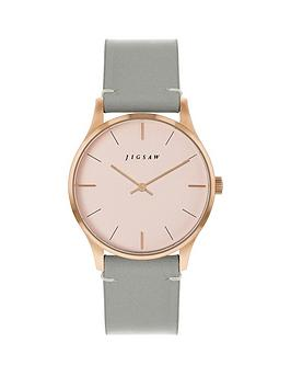 Jigsaw Jigsaw Jigsaw Blush And Rose Gold Detail Dial Grey Leather Strap  ... Picture