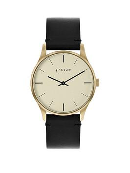Jigsaw Jigsaw Champagne With Black And Gold Detail Dial Black Leather Strap Ladies Watch