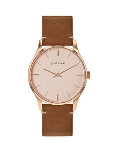 jigsaw-jigsaw-blush-and-rose-gold-detail-dial-brown-leather-strap-ladies-watch